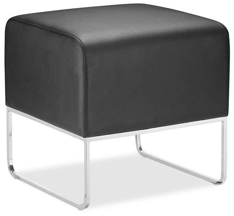 Modern black leather ottoman with chrome legs.