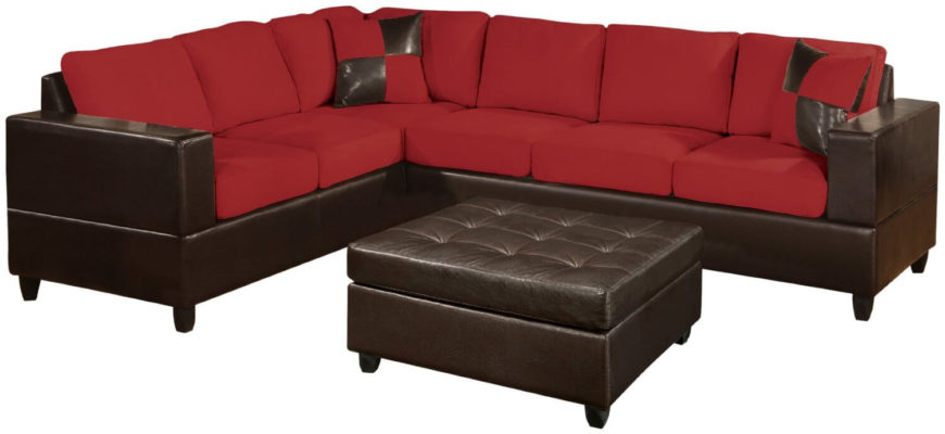 This plush two-piece sectional sofa includes two throw pillows. Bright red microfiber upholstery is mixed with faux leather in a deep chocolate brown. The sleek design is elegant and modern.