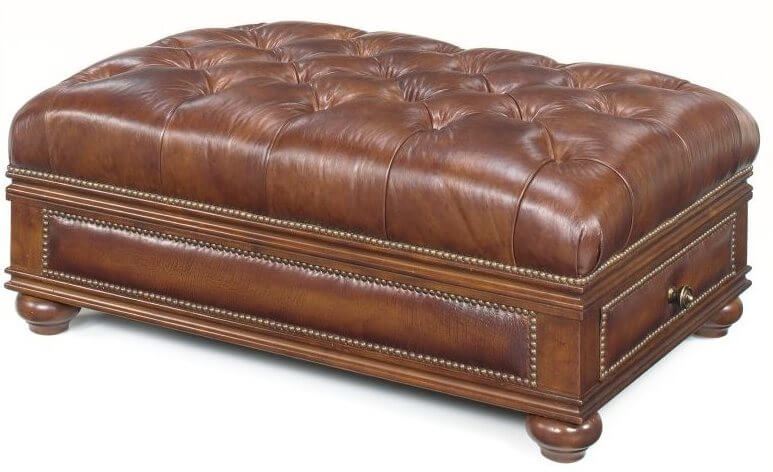 Standard brown leather ottoman