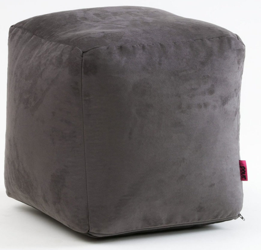 Suede cube ottoman