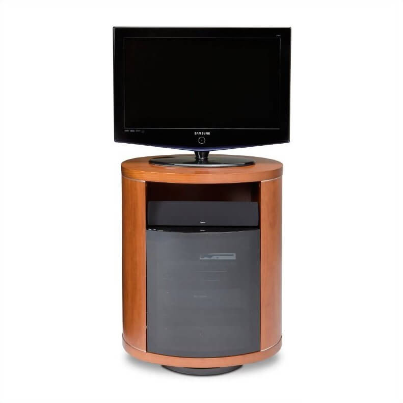 The swivel design TV stand sets the entire structure upon a rotating platform, allowing for the stand itself to be angled in any given direction for better visibility. This is perfect for televisions without a rotating base, or for those who mount speakers in or on the stand.