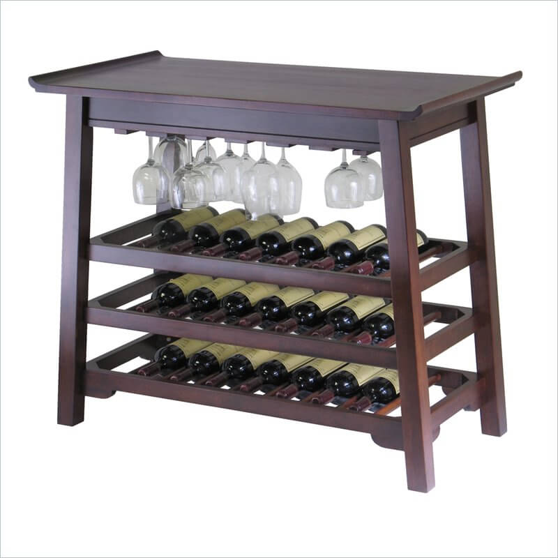 As the most traditional and popular of furniture construction materials, wood offers the widest breadth of options and styles available for wine racks. Our example here is a wine table, combining storage and serving.