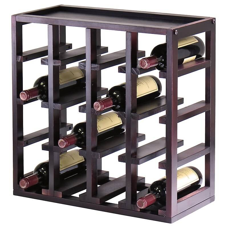 For contrast, here is a second wood wine rack. This example is a tabletop model, with all-wood box construction housing bottles in a minimalist frame.