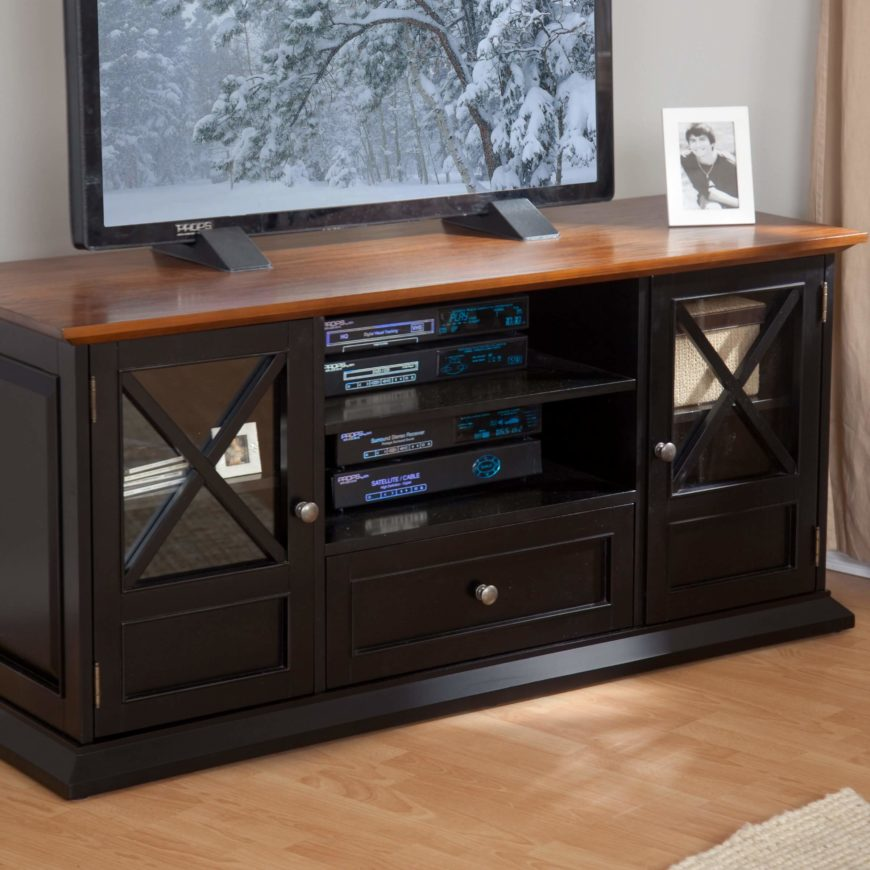 Wood, being the most traditional furniture material, is also the most common TV stand construction. Although metal and glass units have risen in popularity, the breadth of style, color, and utility give an edge to wood. The most luxurious models often appear in wood, with ornate details and rich surface tones.