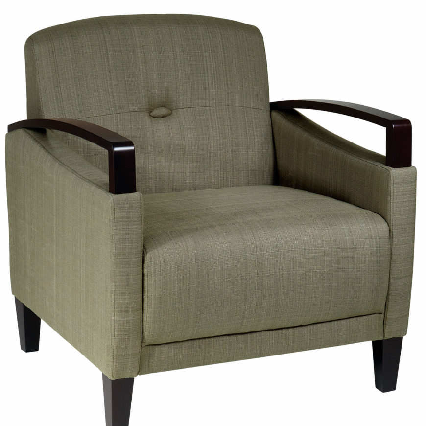 This uniquely contemporary accent chair features a textural fabric upholstery and dark stained wood exposed armrests. Angular form is countered by thick cushioned seating.