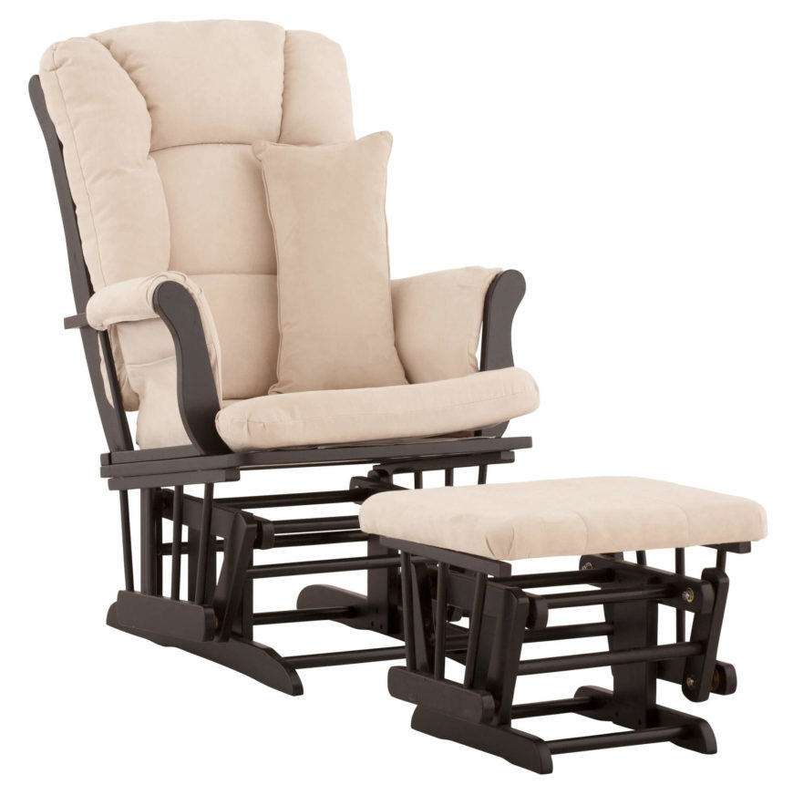 Bright, thick cushioned beige upholstery is mounted to a dark wood frame on this glider chair. Matching ottoman includes glide motion as well.