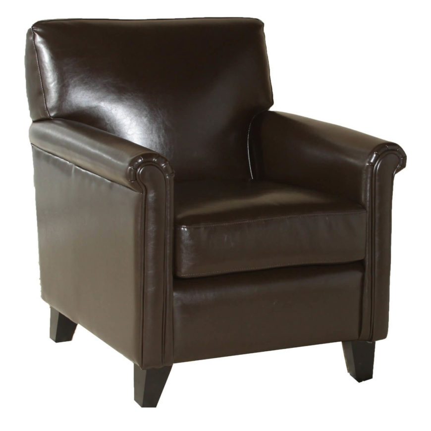 The coffee brown leather on this cleanly designed chair makes for a luxurious addition to any living room. Subtle roll arms add a flourish to the box-like frame.