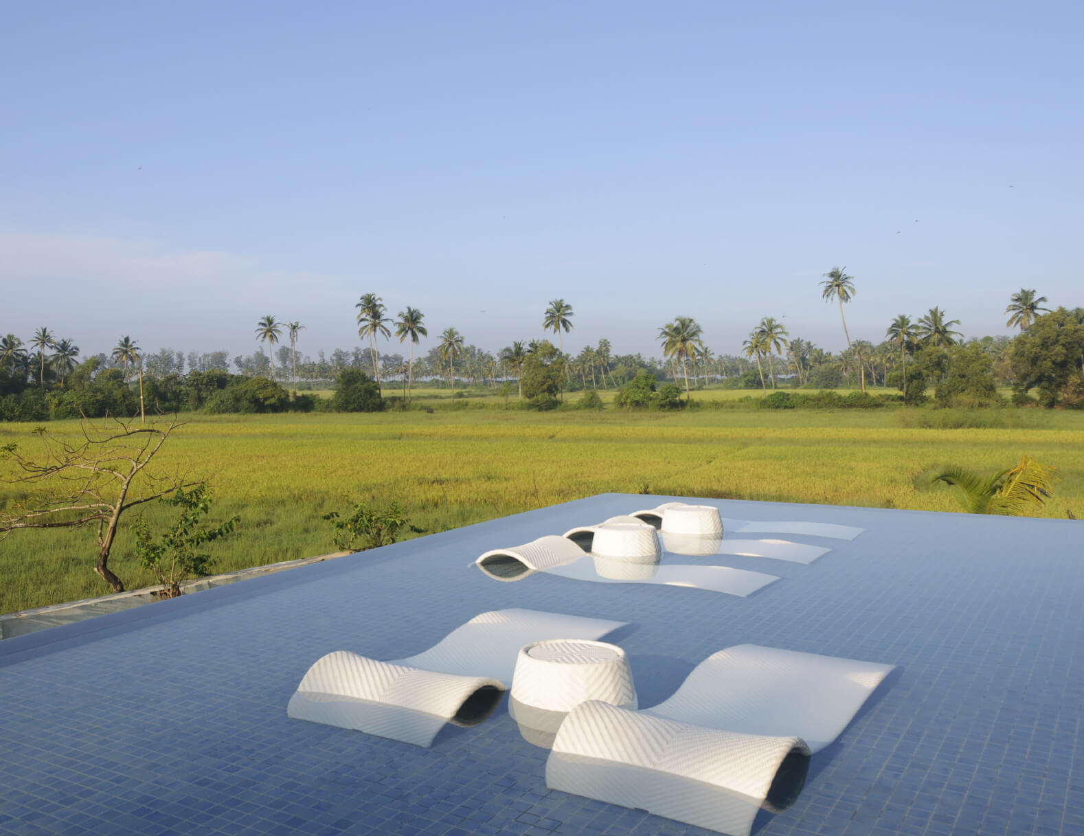 This example of a shallower pool has rolling, modern style lounge chairs, perfect for sunbathing while staying cool. The pool overlooks a meadow.