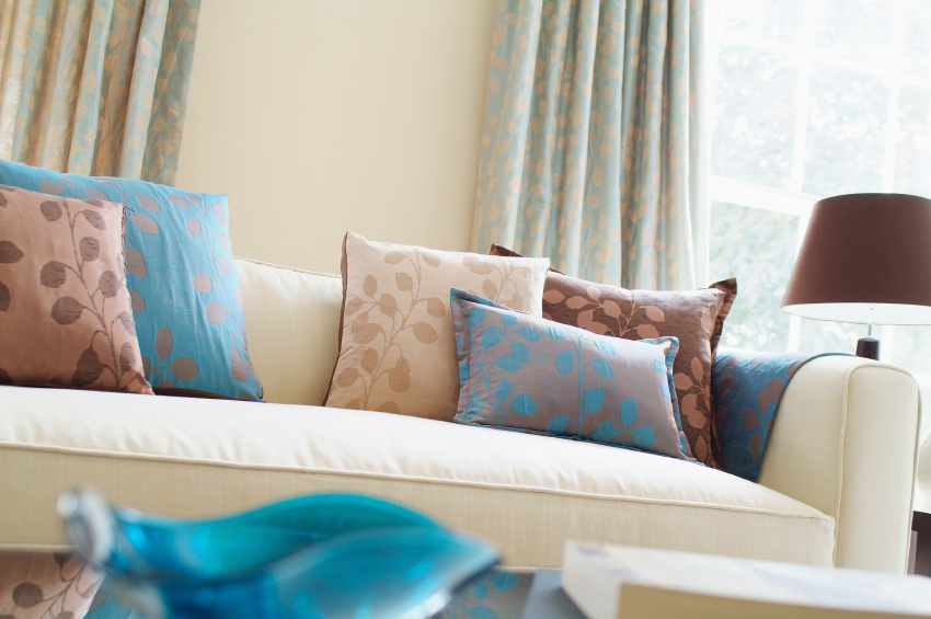 Sofa with homemade DIY throw pillows.