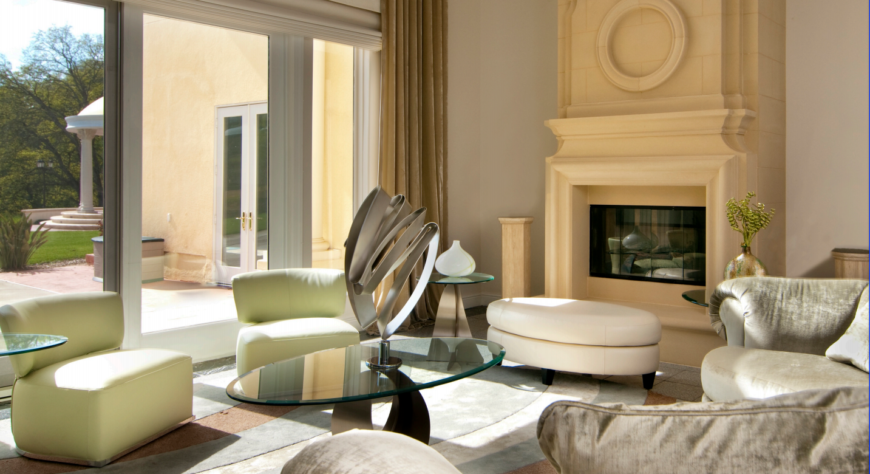 Living room of the Morgan Hill Taj project, designed by Jerry Jacobs Design.