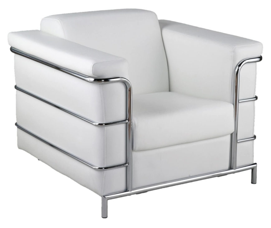This club chair is a modern styled creation, with pristine white leather wrapping a boxy frame, hugged by a chromed stainless steel exoskeleton. The classic lines ensure timeless stile while thick cushioning offers abundant comfort.
