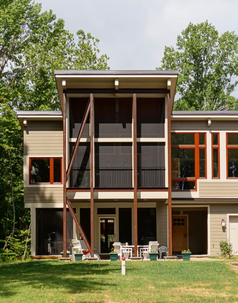 One of the other towers of the home also has a small patio, and a balcony that connects to the primary bedroom.