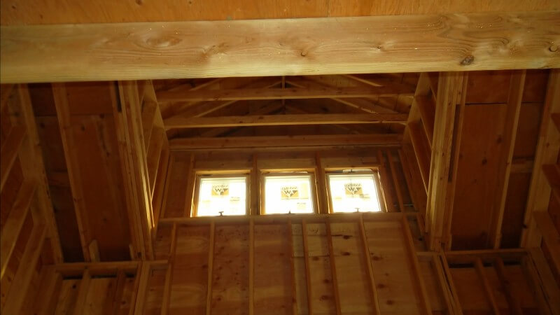 A look up at the tall ceilings of the foyer, which will be open-concept.
