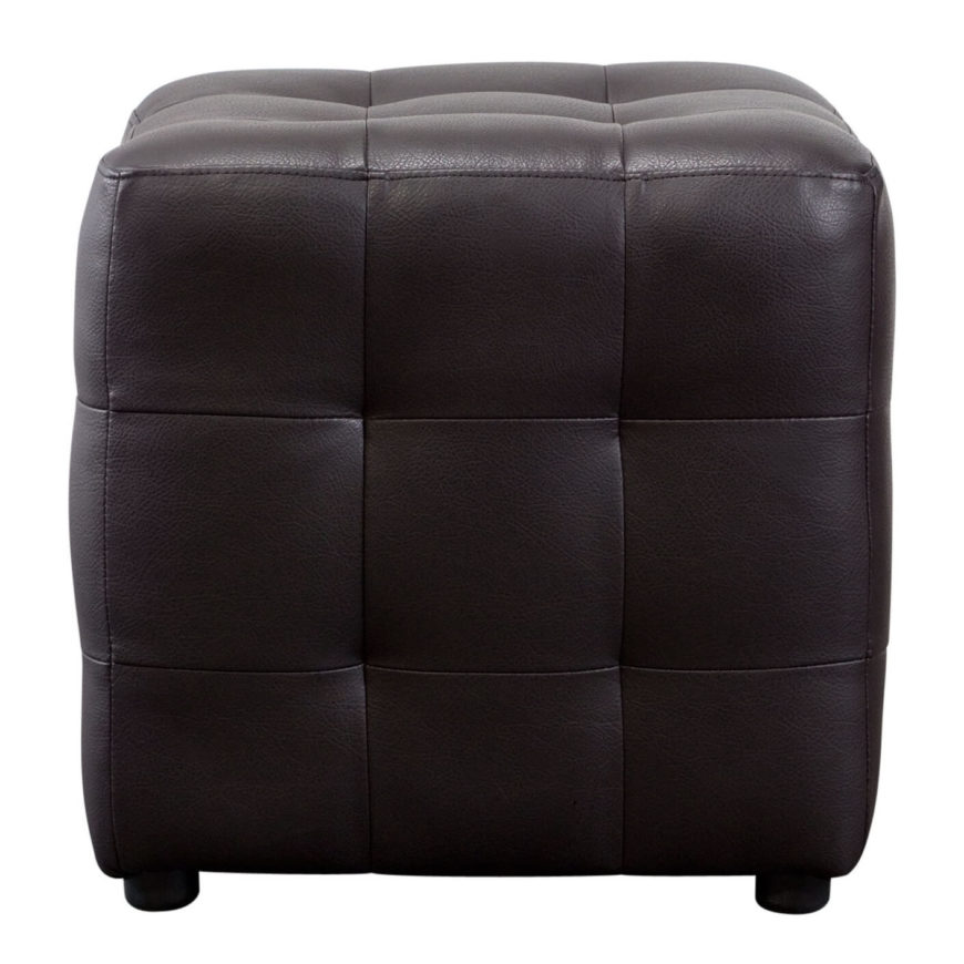 Dark chocolate hues wrap this deep-seamed leather ottoman in a trim cubic shape.