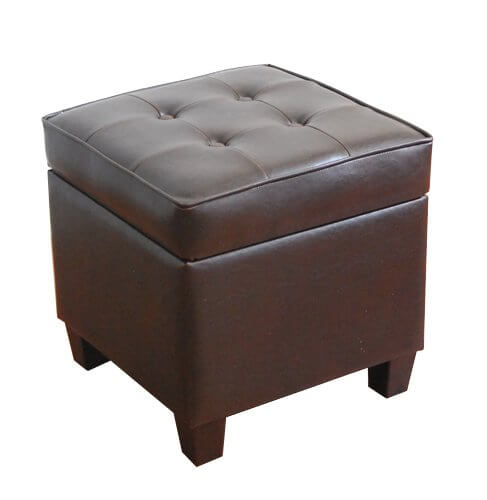 Here's another compact, cubic ottoman, seated over equally cubic wooden feet. The lighter chocolate hue is seamless, with a trim, button tufted cushion top for contrast.