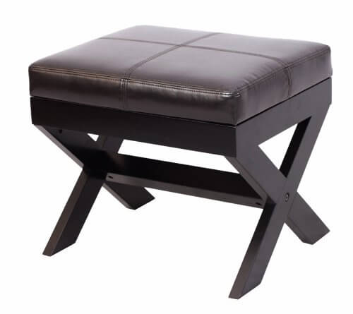 Here's another table-like ottoman frame, with X-shaped dark wood frame and thick leather upholstered cushioning on top.