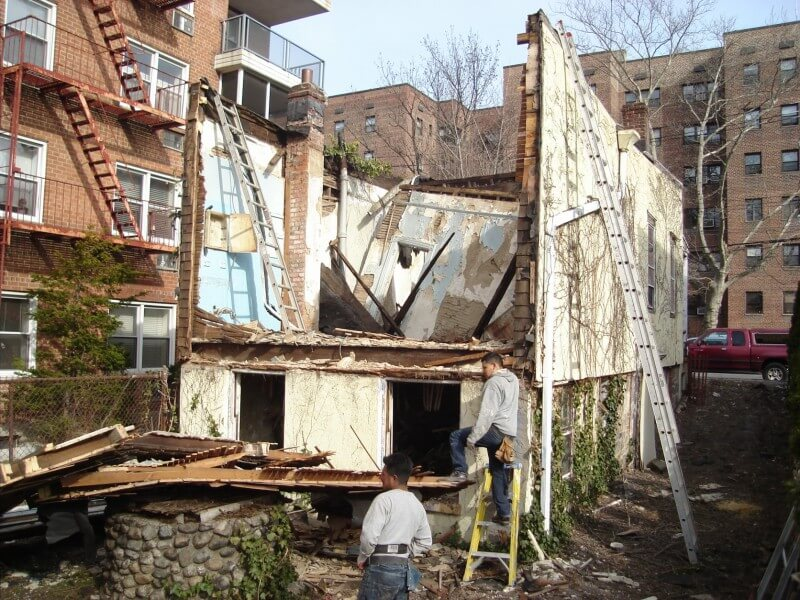 The dilapidated home was in shambles--as we can see from the view after the rear of the home and roof were completely demolished.