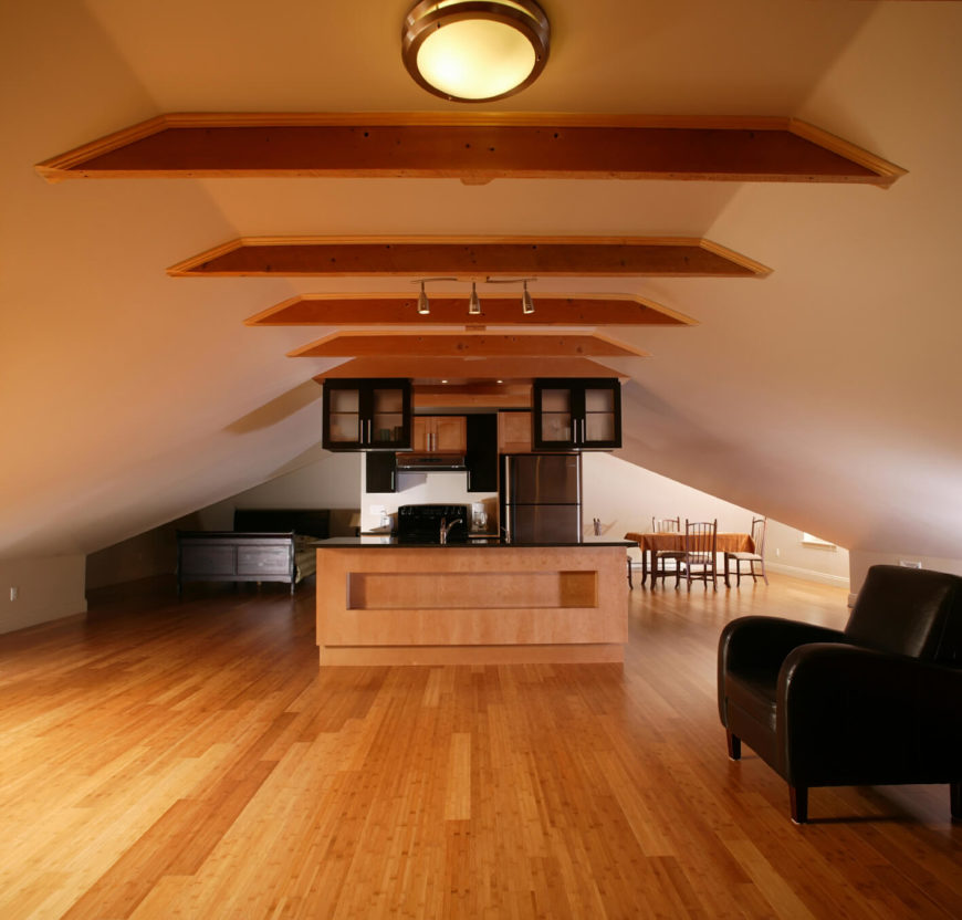 Open concept apartment in attic