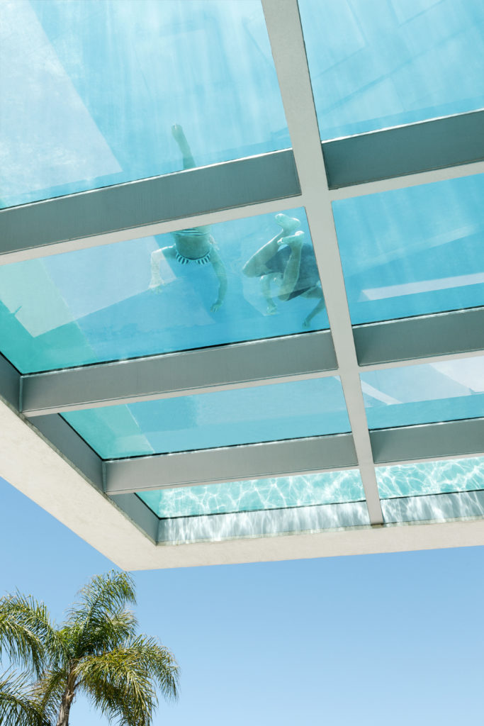 The cantilevered corner of the pool is seen here floating in the Spanish atmosphere.