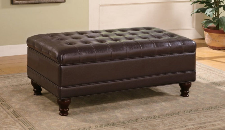 Rectangle tufted brown ottoman under $100