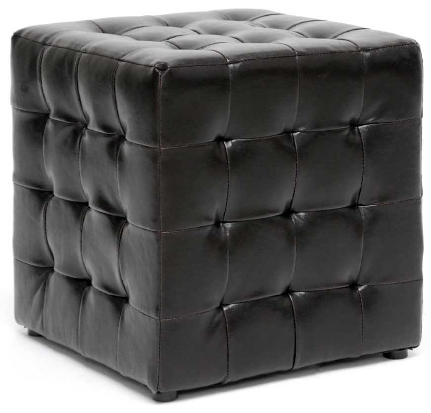 Here we have a modern styled, fully cubic ottoman with button tufted dark leather all around. Minimalist feet help it look like a singular cube with no base.