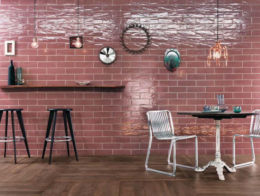 A lovely cafe in salmon-pink ceramic subway tiles from FAP Ceramiche.