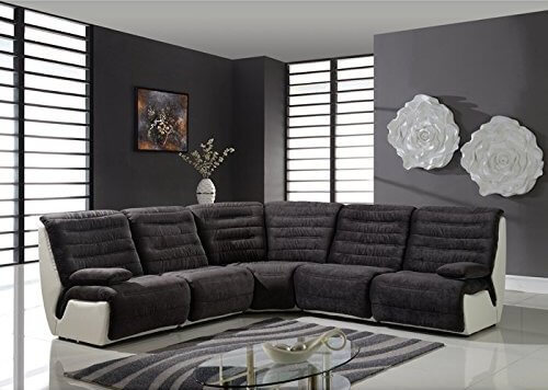 This five piece sectional in soft black microfiber combines sectional seating with the luxury of wide home theater seats. The tufted seating and light ivory frame provide this sofa with an air of elegance.