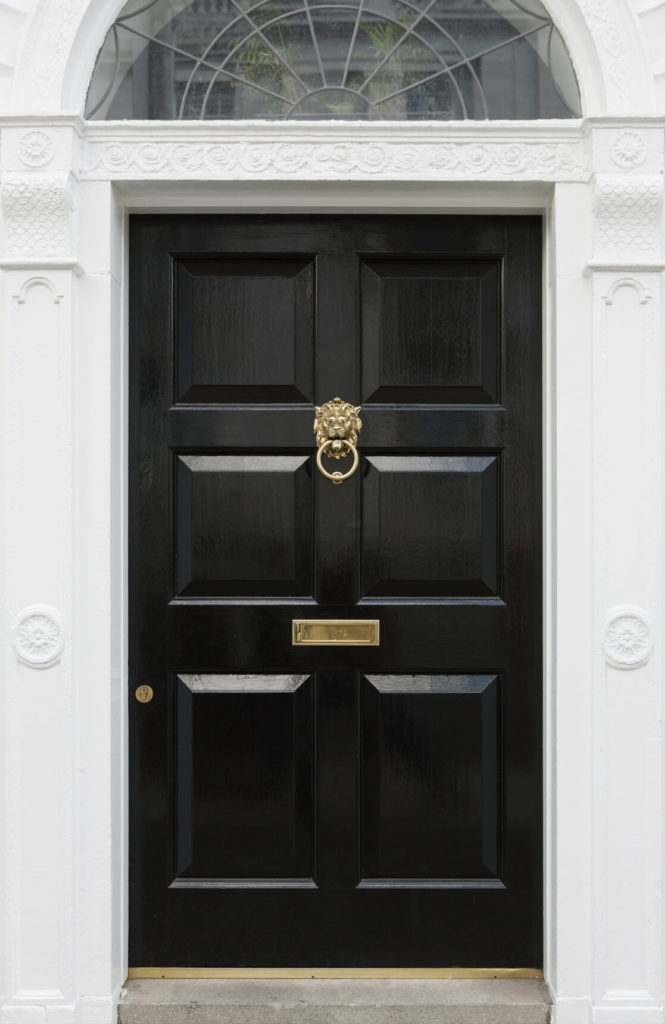 This stately black door features deep panels and brass details, including lock cylinder, mail slot, and lion head knocker.