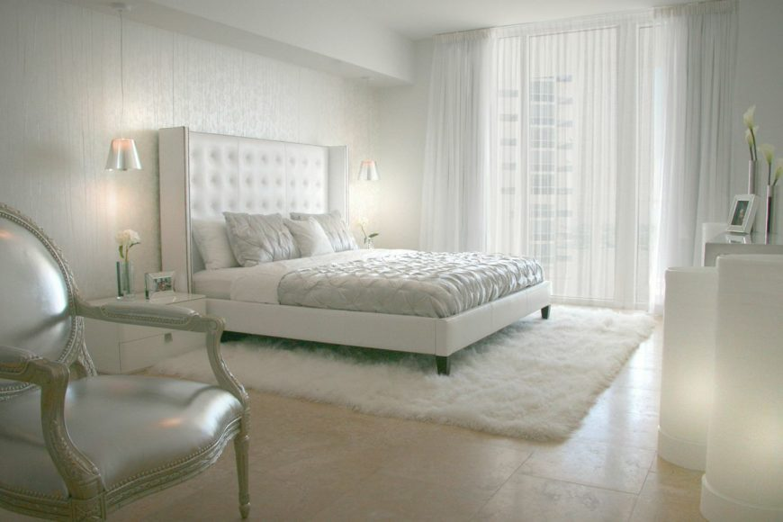 """White """"Russian Glam"""" primary bedroom."""