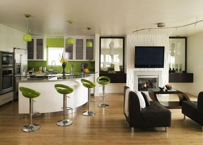 Eclectic kitchen and living room.
