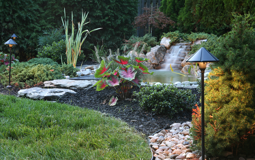 This pond with a stone waterfall is slightly off the beaten path of the yard, with large stepping stones leading through the mulch to the side of the shallow pond.