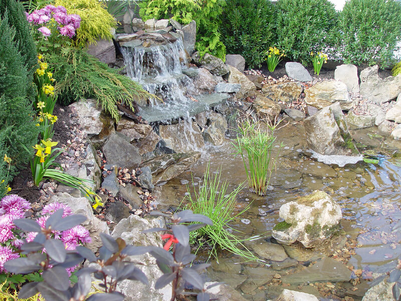 Even the shallowest of waterfall pools creates a soft, soothing sound as the water tumbles into it. Spiky grasses and hedges are planted around the edges of this waterfall and pond.