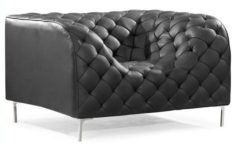 This unique ultra-modern chair features the same curved design as our top featured sofa, for a continuous, fluid cushion experience. The sleek grey body stands over a discreet metal fame.