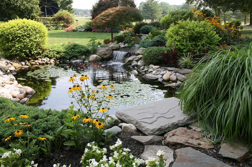 This pond sits in the center of an enormous garden and features a two-tiered waterfall and a deep pond with ornamental fish and lilypads.
