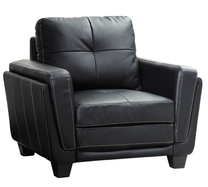 This contemporary design club chair in black leather features white stitching for subtle contrast and texture. Boxy frame is padded with thick cushioning.