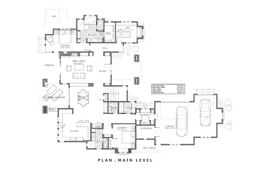 The floor plan for the main level of the home.