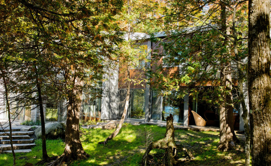 Viewed from within the woods, we see how the angular structure manages to blend in with the environment.