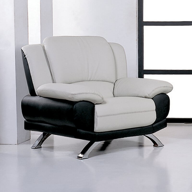 Here we have a truly modern chair design, with lightly angled black leather body supporting thick cushioned white leather seating. Wide-stance structure and layers of padding make for a high level of comfort.