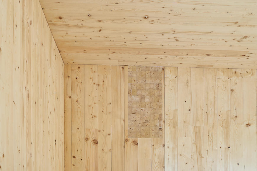 Here's a close view of the CLT (cross laminate-timber), unobscured by furniture.