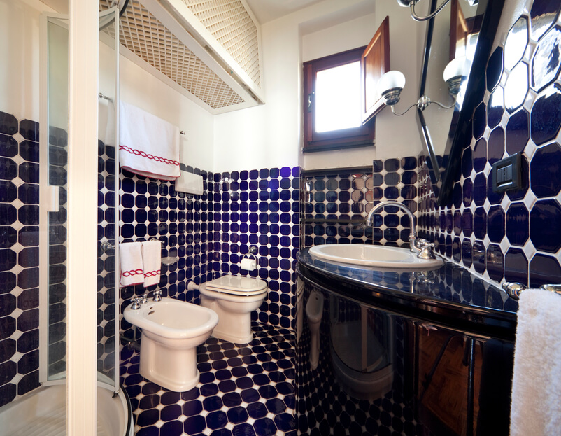 Here's another uniquely blue bathroom, this time with a spread of blue tile wrapping from the floor to halfway up the wall, dotted with white accents. A curved, sleekly black vanity stands at right, across from bidet and glass enclosed shower.