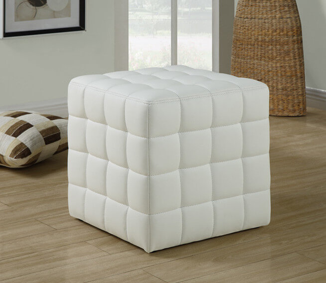 A soft, tufted cube ottoman that is plush and perfect from any angle. Great for sitting, resting your feet, or even leaning against while sitting on the floor.