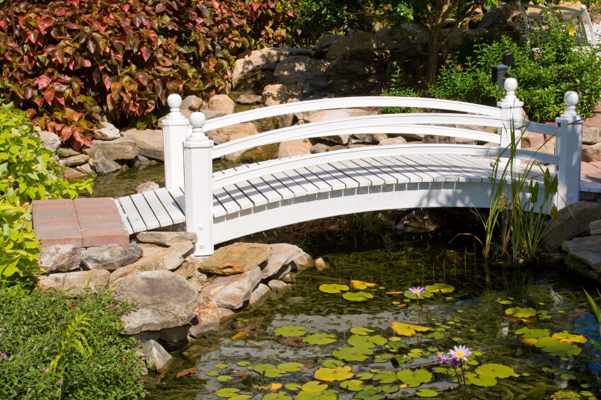 A delicate and sweet white bridge over a small pond filled with lilypads and water-loving grasses. Rocks piled up on the edges of the pond help support the bridge and also add a natural feel.