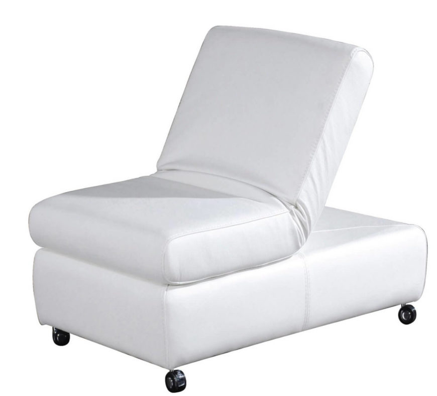 A unique ottoman in full grain Italian leather. One end of the cushion flips up to create a chair back for unparalleled comfort while sitting on an ottoman.