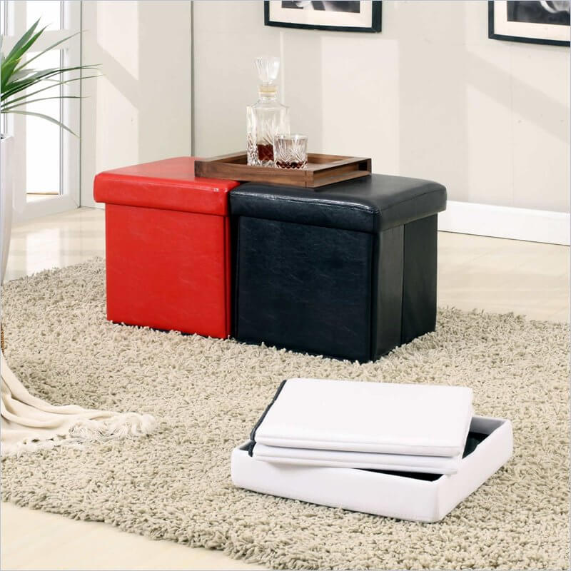 A space-saving option also available in red and black, this folding cube ottoman is easy to store out of sight when not needed.