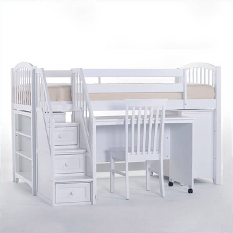 Yet another unique white painted wood frame design, this bed features a slide-out desk beneath the upper bunk, plus built-in storage stairs to the bed itself.