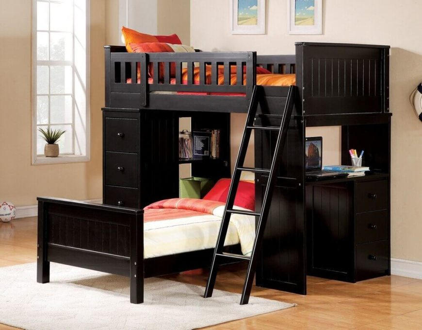 This rich wood desk bed features a desk built into the side of the unit, with ample storage space and shelving on both sides. A slide-out twin bed below adds sleeping space and more layout options.