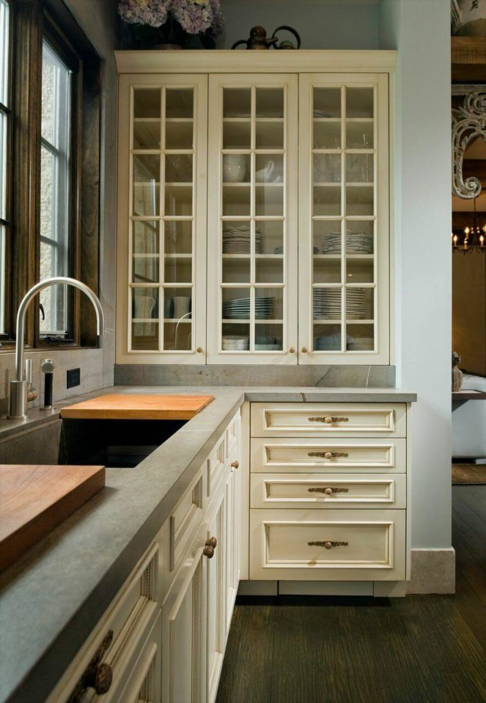 A closer look at this kitchen nook. The sections of butcher block settle nicely into a lip around the sink, and act as a simple, easy way to add countertop space where needed.