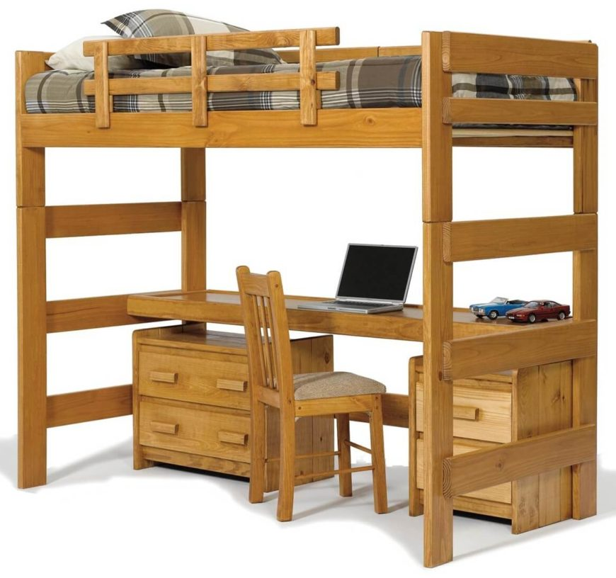 This rich natural wood bed features a single bunk above a lengthy desk, with additional storage courtesy of built-in dressers below.