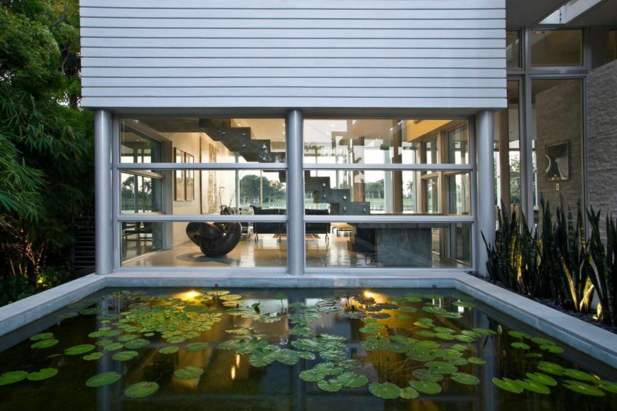 The pool is easily visible from the staircase, and provides a gentle sense of serenity.