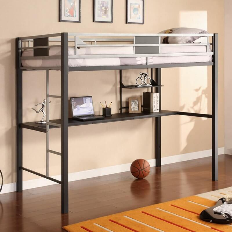 This slim, minimalist metal creation sports geometric framing on the top bunk and a slim, minimalist desk below. The contrast between dark and silver toned metal adds attractive detail.